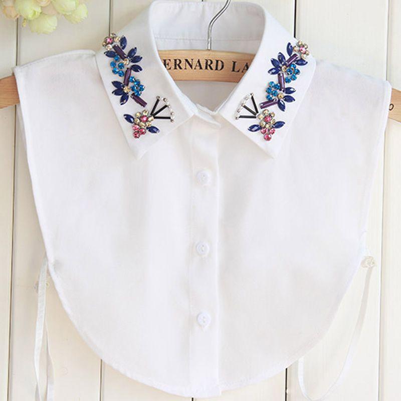 Demi-chemise Style Blouse détachable femmes filles Chic Faux Faux revers col de chemise détachable femmes accessoires cou décor coton