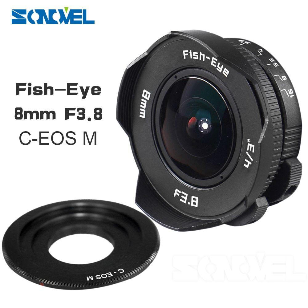 8mm F3.8 Fish-eye C mount Wide Angle Fisheye Lens Focal length Fish eye Lens Suit For Canon EOS M M2 M3 M5 M6 M10 Mirrorless