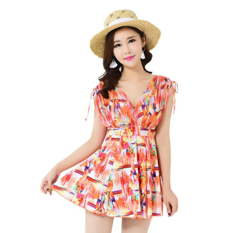 V Neck Swimwear Women XL-5XL Plus Size Beach Dress Two Pieces Swimsuit Female 2018 Swim Wear Push Up Bathing Suit Hot Beachwear
