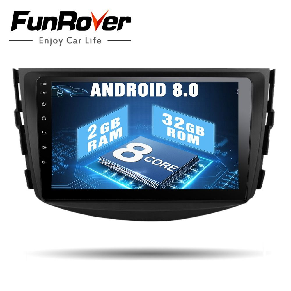 Funrover 8 cores Android 8.0 Car dvd multimedia For Toyota Rav4 2007 2008 2009 2010 2011 IPS Radio Tape Recorder Stereo Gps navi