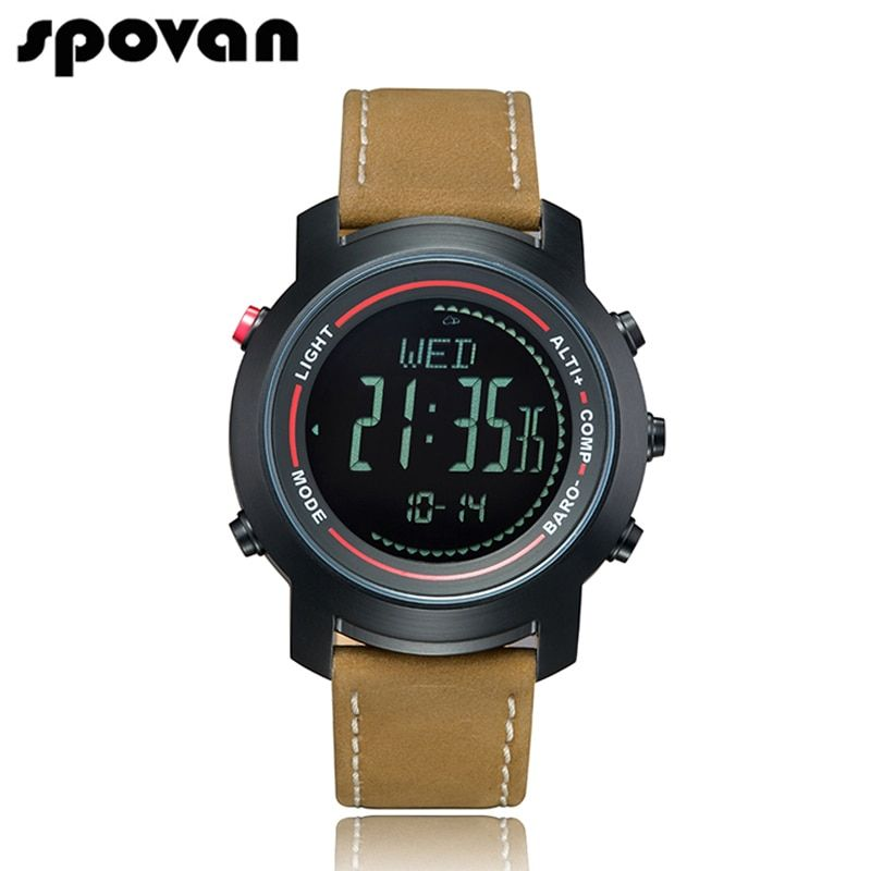 SPOVAN Men's Watch with Genuine Leather <font><b>Band</b></font>, Sport Watches Wristwatch Compass/Pacer/Waterproof/LED Backlight MG01b
