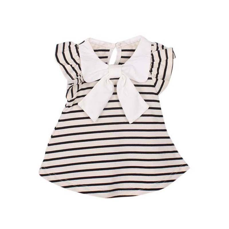 Baby Kid Girl Princess Dress Stripe Bow Party Gown Casual Dress 0-4Y SM3