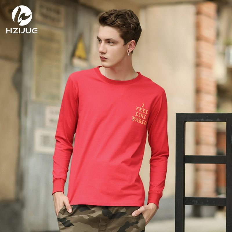 HZIJUE 2018 new mens hip hip style i feel like pablo kanye long sleeve casual tops tee shirt long sleeve hiphop t shirt for men