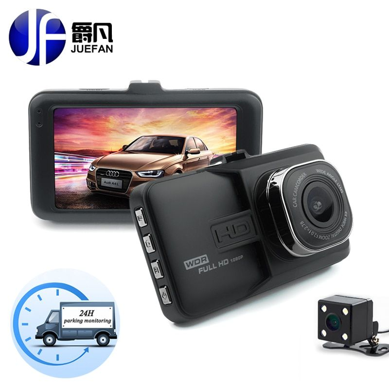 JUEFAN car dvr camera 1080p dash cam High-definition car video recorder dvr black box car mirror camera Dual camera lens dashcam