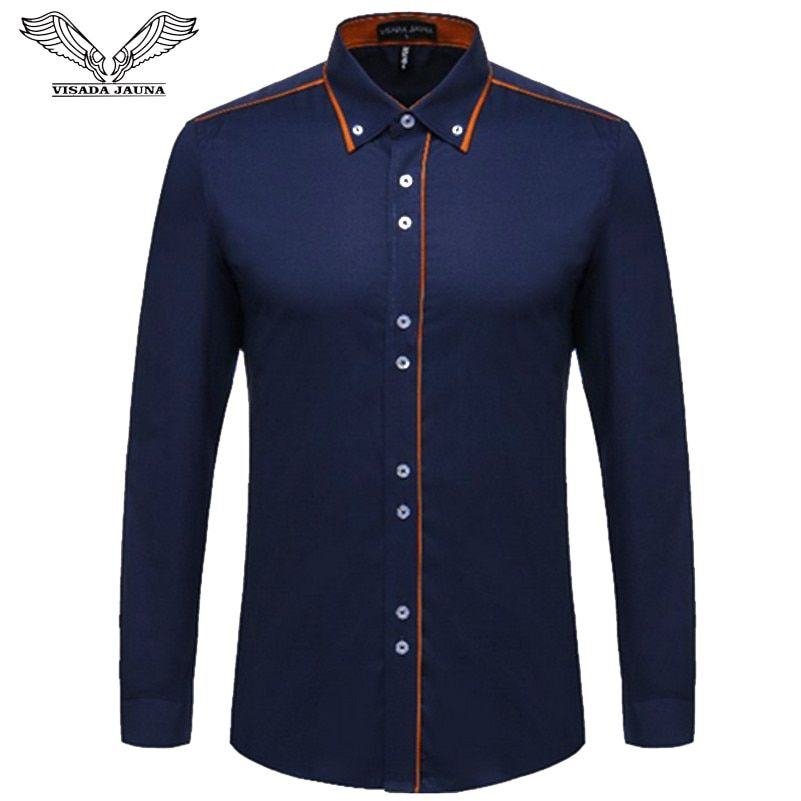 VISADA JAUNA European Size Men's Shirt 2017 New 100% Cotton Slim <font><b>Business</b></font> Casual Brand Clothing Long Sleeve Chemise Homme N356
