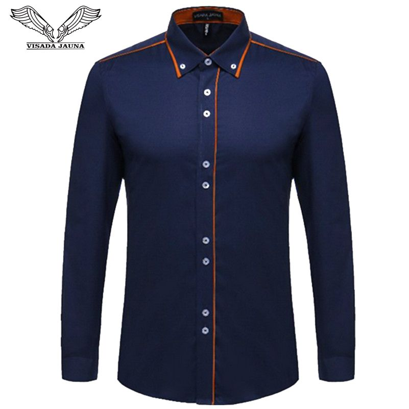 VISADA JAUNA European Size Men's Shirt 2017 New 100% Cotton <font><b>Slim</b></font> Business Casual Brand Clothing Long Sleeve Chemise Homme N356