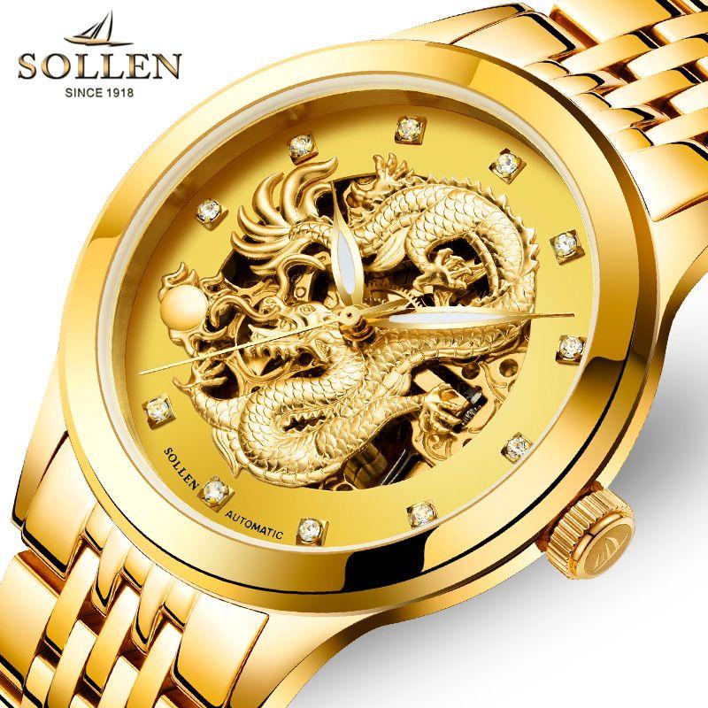 Esqueleto Reloj de Los Hombres de Lujo de Acero Inoxidable de China Dragón de Oro Para Hombre Relojes de Primeras Marcas Sollen Automático Hombres de Negocios Relojes 2017