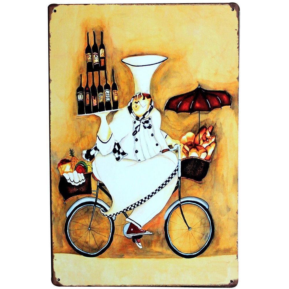 Chef sur Vélo Vintage Métal Inscrivez Tin Décor Cuire Plaque Alimentaire Plaque Conseil Vin pour restaurant hôtel accueil parti SPM19 20x30 cm