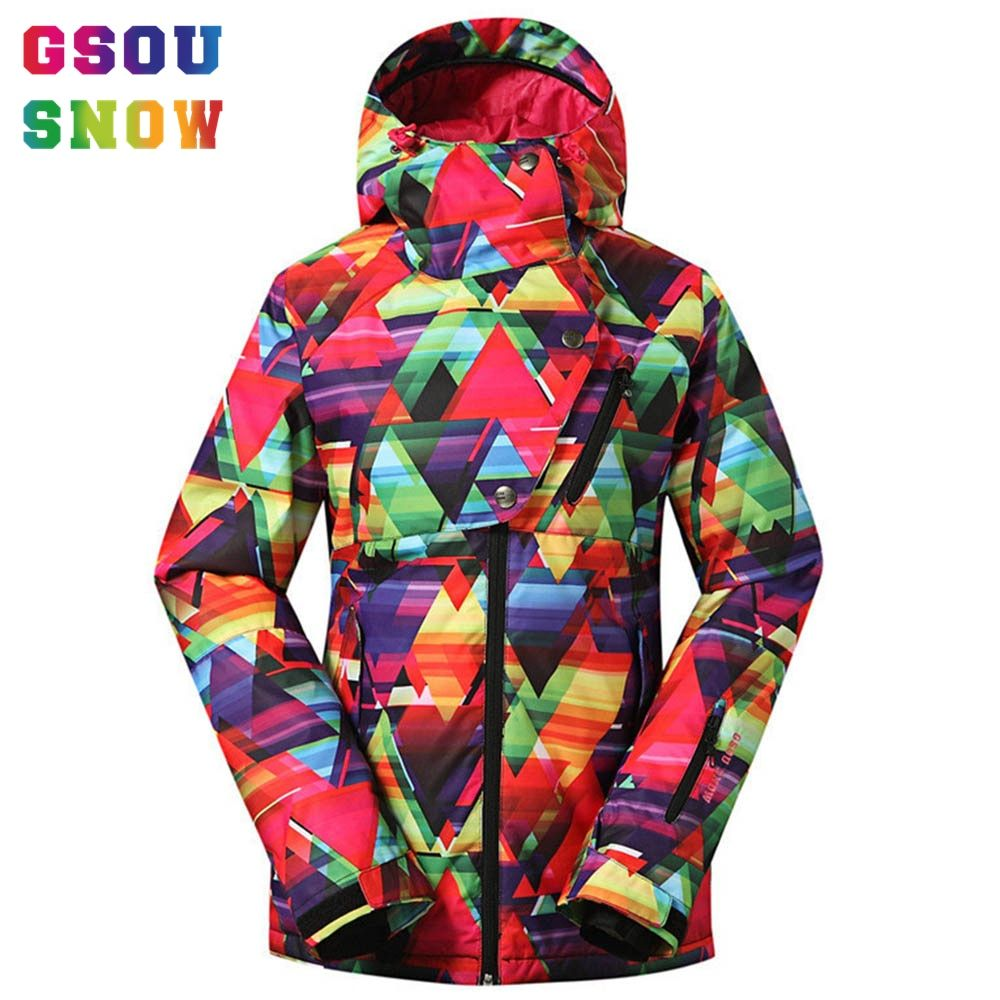 Gsou Snow Women Ski Snowboard Jacket -30 Degree Outdoor Snow Coats Female Ladies Windproof Waterproof Colorful Cheap Ski Jacket