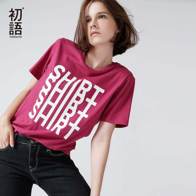 Toyouth Ulzzang T Shirt Women Fashion Letter Printed Short Sleeve Summer Tops All-Match Camisetas Casual Cotton Tee Shirt Femme