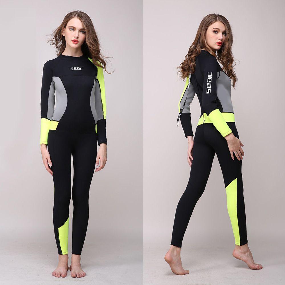 Frauen Volle Körper Neoprenanzug 3mm Neopren einteiligen Overall Nass anzug Mädchen Tauchen Anzüge Scuba Surfen Schnorcheln zurück Zip