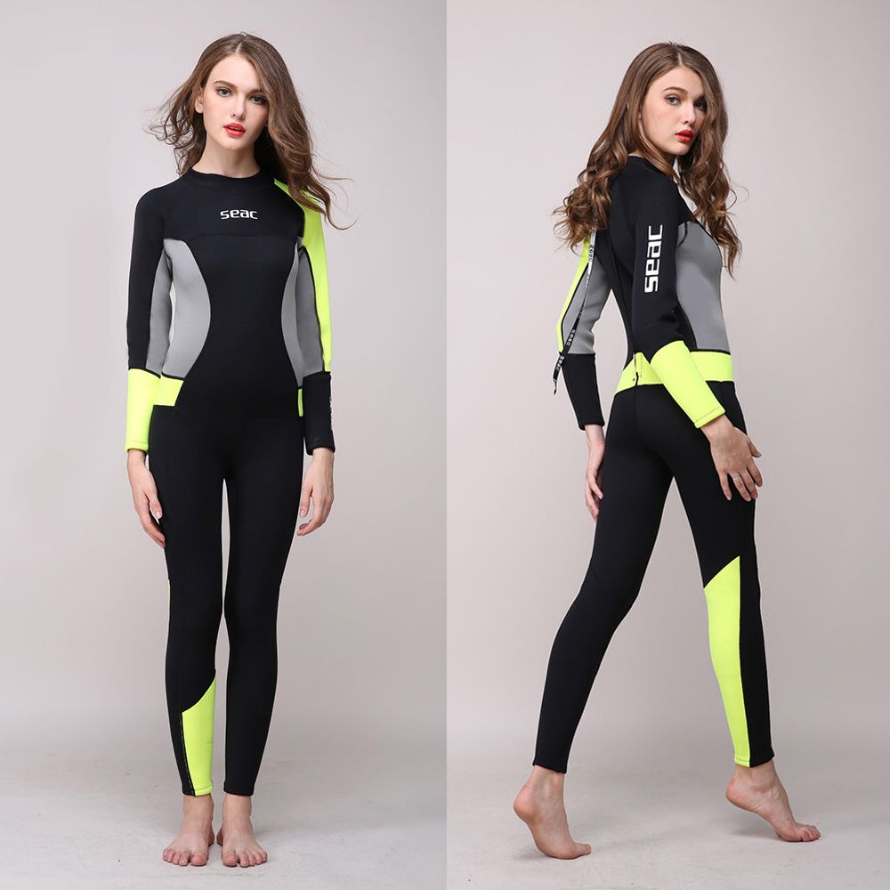 Women's Full Body Wetsuit 3mm Neoprene One-piece Jumpsuit Wet suit Girls Diving Suits Scuba Surfing Snorkeling Back Zip