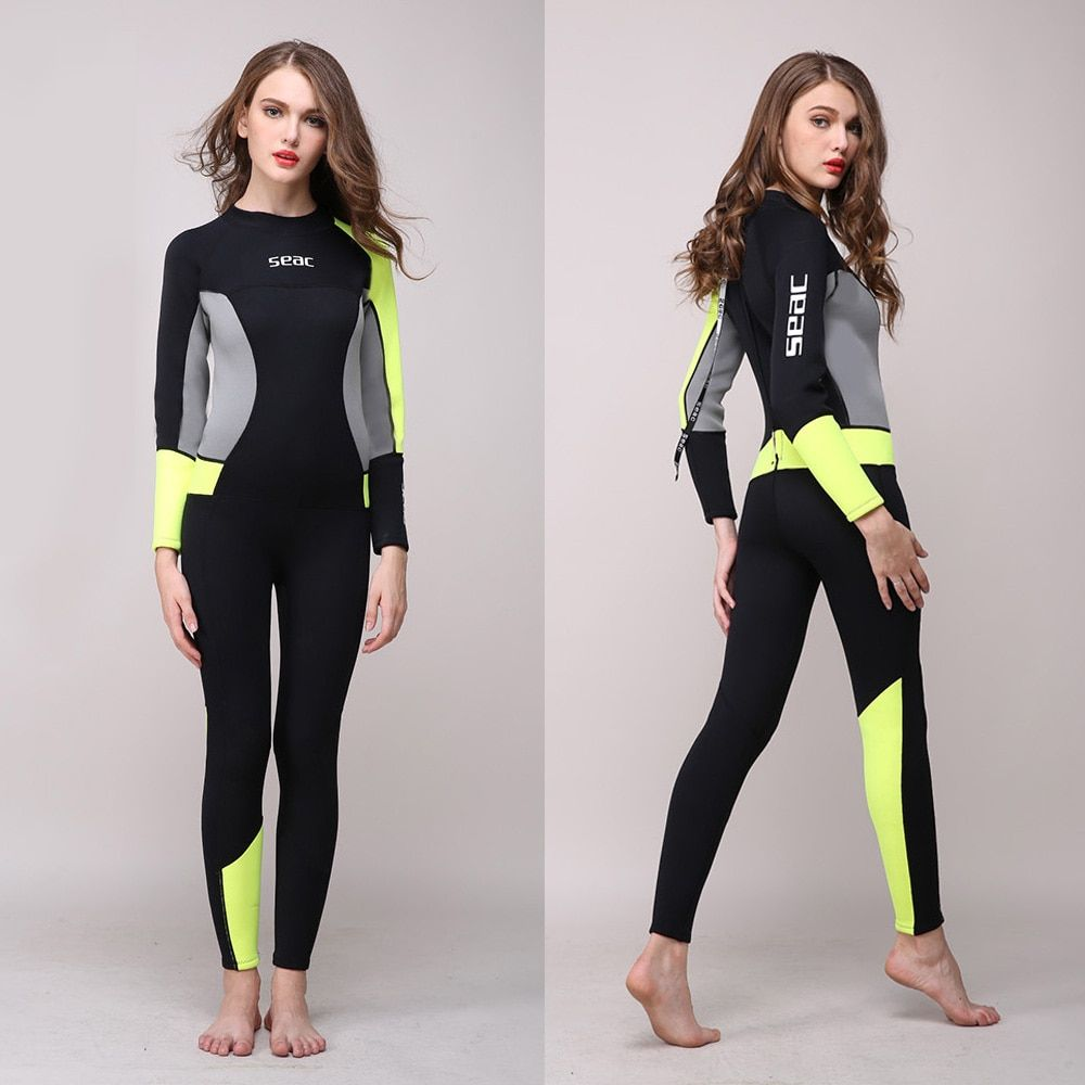 Women's Full Body Wetsuit 3mm Neoprene One-piece Jumpsuit Wet suit Girls Diving Suits Scuba Surfing Snorkeling Back Zip