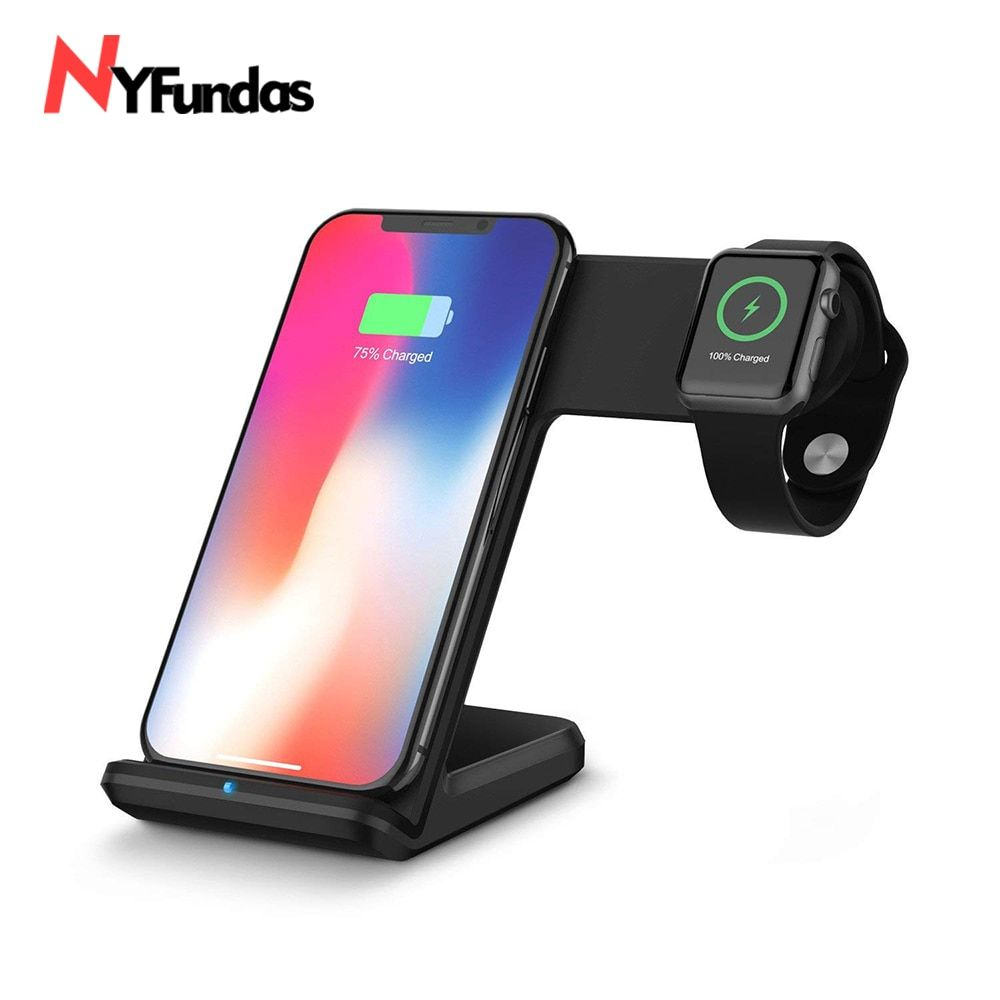 NYFundas 2 To 1 Wireless Charger For Apple Watch 2 3 4 iphone X XS MAX XR 8 8Plus 10 Samsung S8 S9 Plus Fast Charging Pad Stand