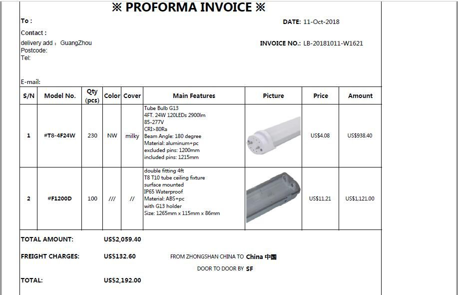 The Invoice for morgan whitfield with price 2192USD,sent to GuangZhou