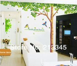[Fundecor Monopoli] Besar Ukuran Ekstra Stiker Dinding Pohon Keluarga Besar Daun Hijau Segar Stiker Mural Dekorasi Rumah Yang Dapat Dilepas seni 4023