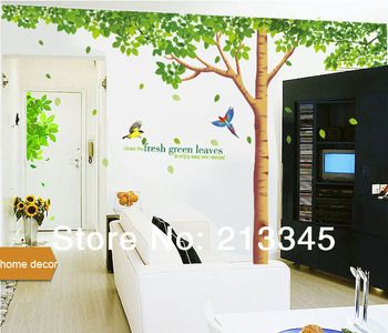 [Fundecor Monopoly] big size extra large family tree wall decal fresh green leaves stickers mural removable home decor art 4023