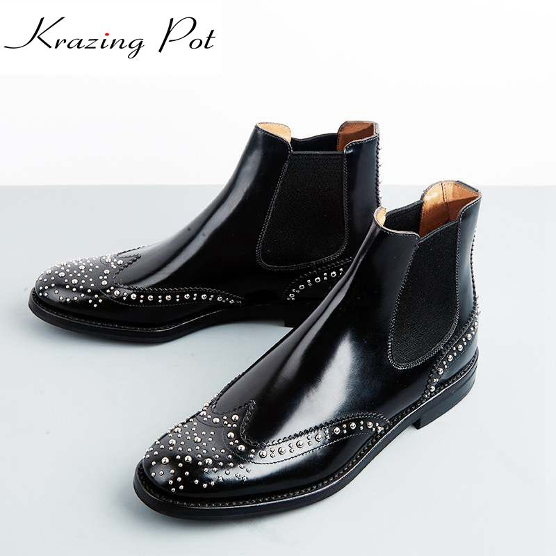 Krazing Pot cow leather low heels gladiator round toe rivets Hollywood British school Chelsea boots streetwear ankle boots L81