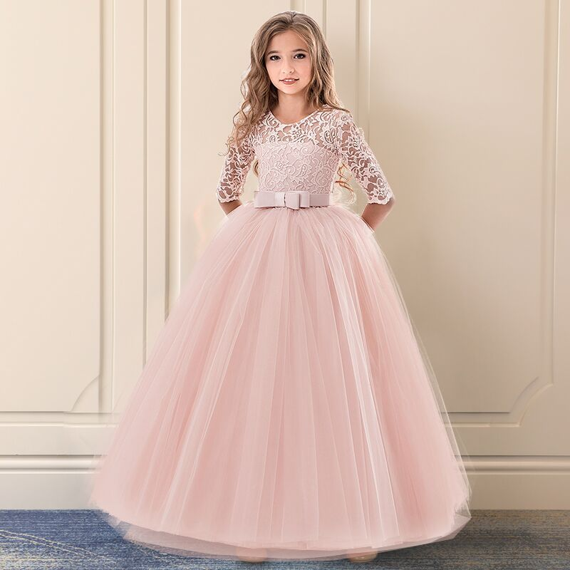 Girls Wedding Tulle Lace Girl Dress Infantil Fancy Autumn Princess Events Costume Kids Party Ceremony Children Clothing Pink 14Y