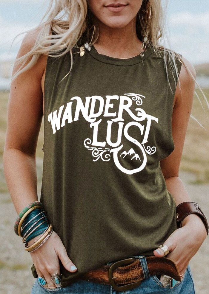 New Women Tank Tops 2018 Summer Sleeveless tops tee Wanderlust Letter Print O-Neck Tank Female Army Green Tank Ladies Tops Tee