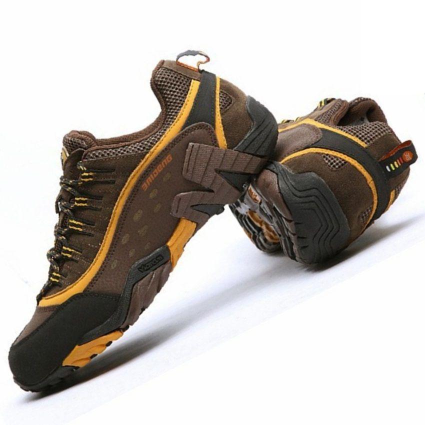 Baideng marque hommes chaussures de randonnée en plein air étanche respirant chasse trekking chaussures en cuir véritable sport escalade randonnée chaussures