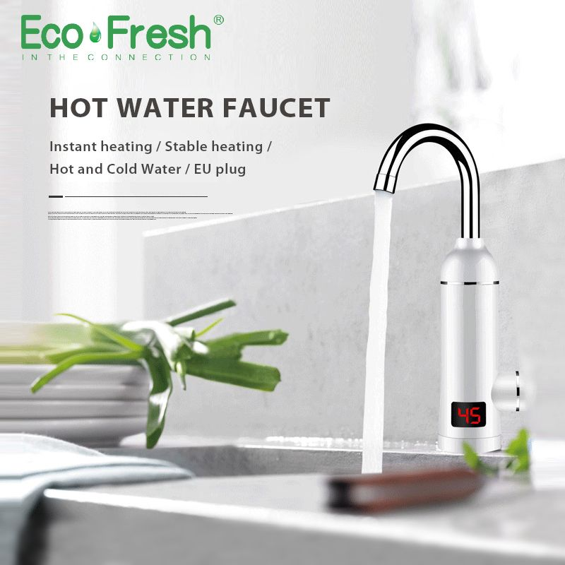 Ecofresh Instant Hot Water Heater Tap Fast Instantaneous Thermostat for Water Heater 3000w Electrical Faucet Temperature Display