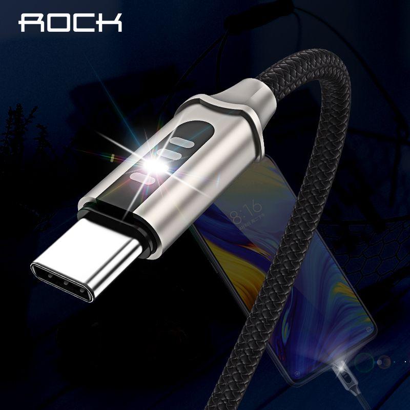 Rock 3A Led USB Typ C Kabel Für Xiaomi Huawei Samsung Auto Trennen Schnelle Lade Daten Sync Ladegerät 1 mt luminous Flash-Licht