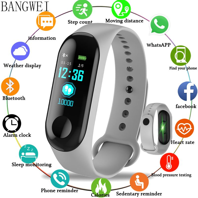 BANGWEI 2018 Smart Sport Watch IP68 Waterproof Watch Blood Pressure Heart Rate Monitor Pedometer Smart Watch men For Android iOS