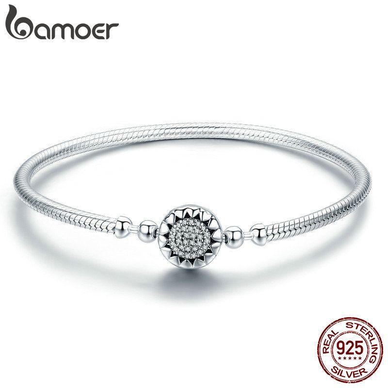 BAMOER 2018 New Authentic 925 Sterling Silver Bright Heart AAA Zircon Women Snake Chain Bracelet Sterling Silver Jewelry SCB059
