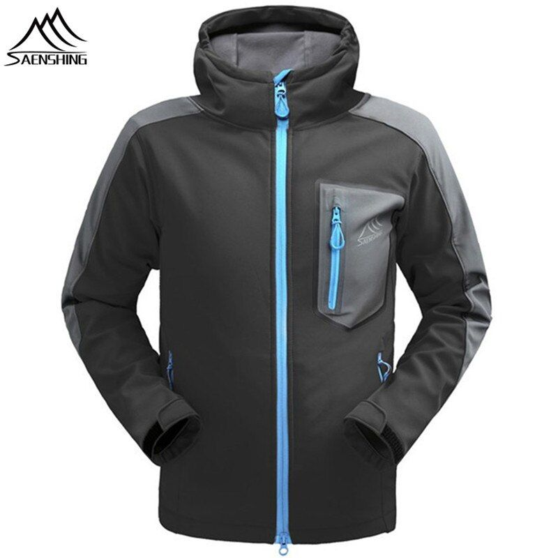 SAENSHING Waterproof softshell Jacket Men Hiking Fleece Rain Coat Fishing Windbreaker Outdoor Camping Trekking Soft shell Jacket