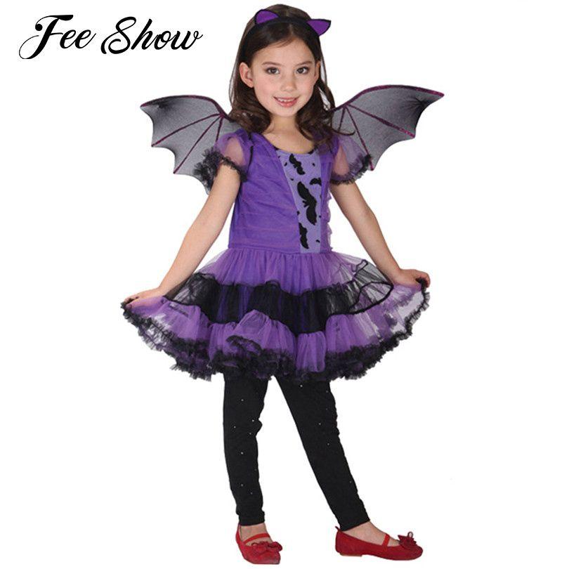 Симпатичные 3 шт. Обувь для девочек Хэллоуин Фиолетовый летучая мышь вампир платье принцессы крыло оголовье Косплэй костюм дети Наборы для ...