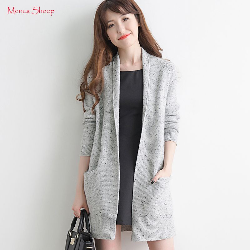 Menca Sheep Brand New Winter Warm Cardigans Women 100% Cashmere Sweater Lady Fashion Open Stitch Girls Long Outerwear Clthes