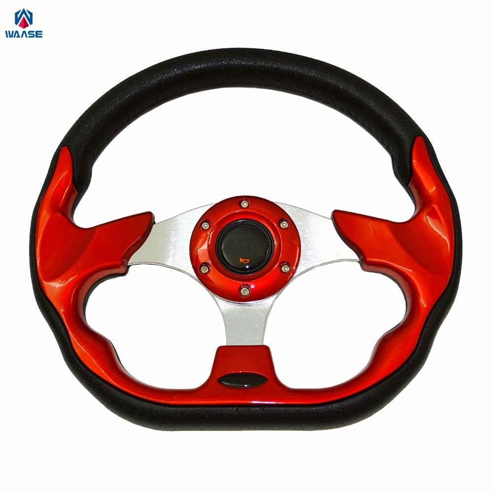 waase Universal Steering Wheels 320mm PU Leather Racing Sports Auto Car Steering Wheel with Horn Button 12.5 inches Red