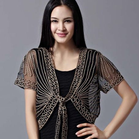 2017 High quality Summer Fashion Womens Clothing Wild Perspective Small Shawl Chiffon Lace Cardigan Gauze Lacing Boleros 802E 30