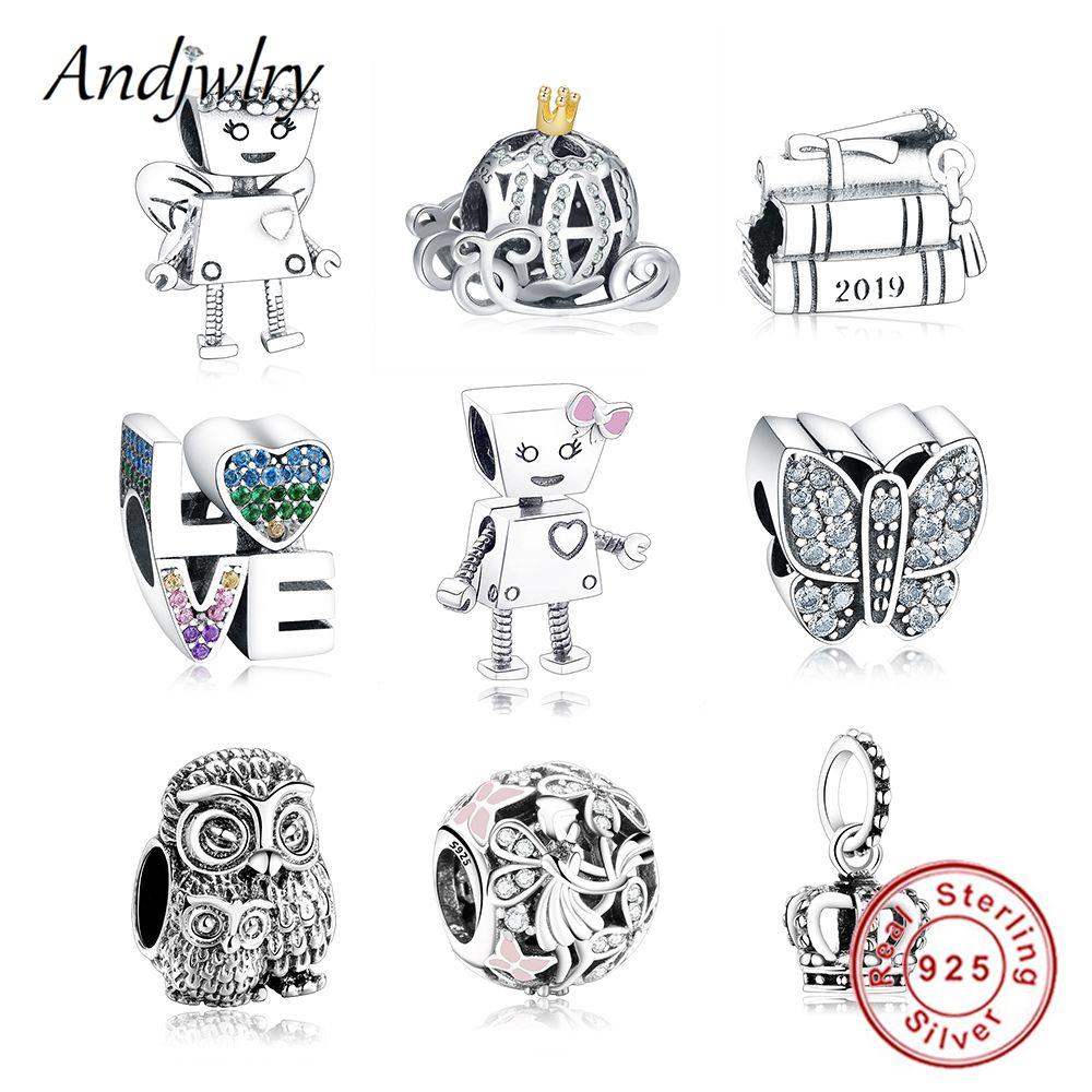925 argent Sterling Robot fille Bella Bot charme s'adapte Original Pandora bracelet à breloques perle pendentif bijoux à bricoler soi-même faisant Berloque