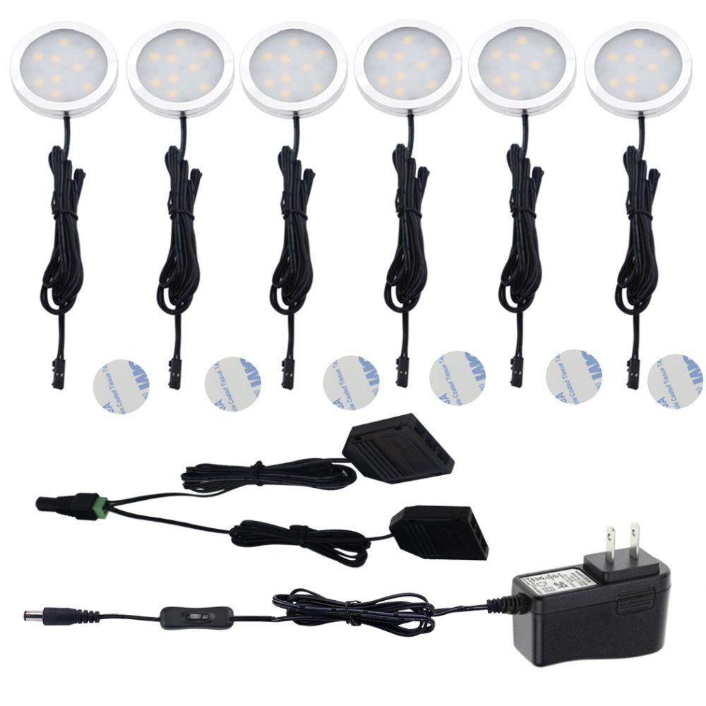 Aiboo sous éclairage LED pour placard Puck lumières avec interrupteur 2 voies sous comptoir 6 rond Puck lumière Kit pour cuisine comptoir placard éclairage