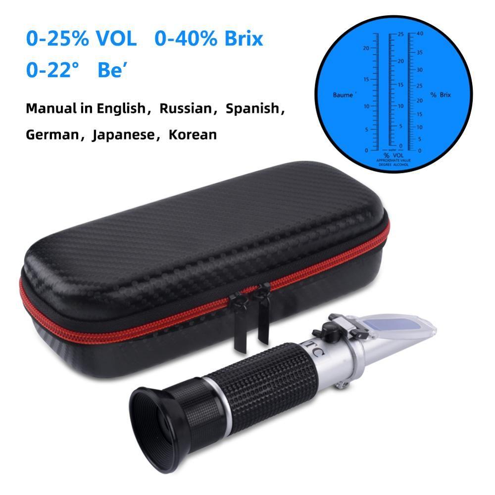 Nouvel emballage réfractomètre de vin de raisin et d'alcool Portable 3 en 1 (balances Brix, Baume et W25V/V) antichoc