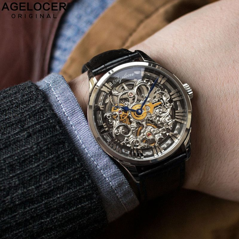 AGELOCER New Number Sport Design Swiss Watch Mens Watches Top Brand Luxury Montre Homme Clock Men Automatic Skeleton Watch
