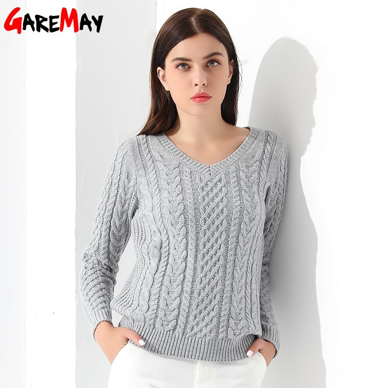 Women Sweaters And Pullovers Long sleeve Knitted White Sweater Women's Female Winter V <font><b>Neck</b></font> Sueter Mujer Pull Femme 2018 GAREMAY