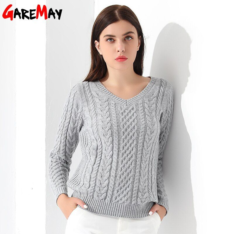 Women Sweaters And Pullovers Long sleeve Knitted White Women's Sweater Female Winter V Neck Sueter Mujer Pull Femme 2018 GAREMAY