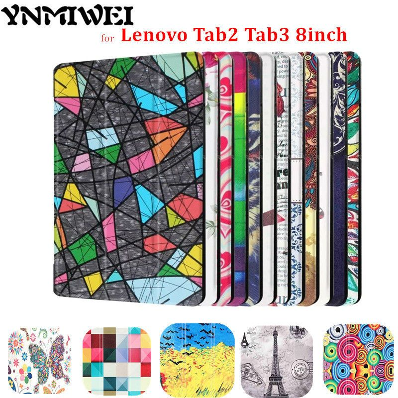 YNMIWEI Tab3 8 pouce TaB3 850 m 850F Tablette Pour Lenovo Tab 2 A8-50F A8-50LC Couverture En Cuir Coloré imprimé aimant + protecteur