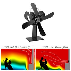4 Blades Heat Powered Stove Fan +16% Fuel Saving Stove Fan For Wood Stove Fireplace Eco Friendly Fan High Quality Home Supplies