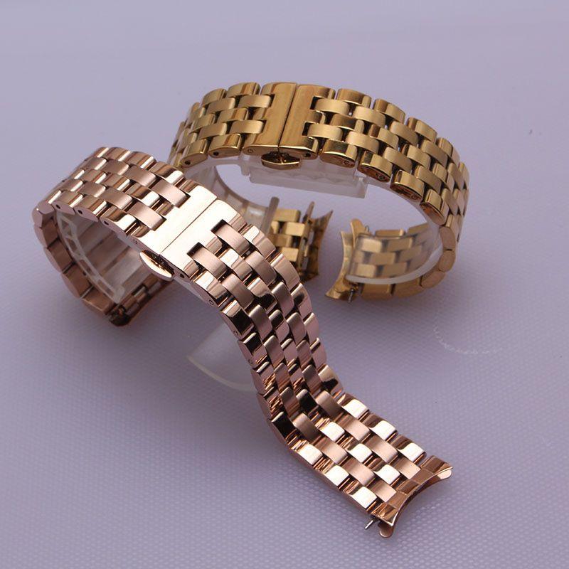 Extrémités courbées bracelets de montre bracelet en or rose bracelets de montre 16mm 18mm 20mm 22mm 24mm pour hommes femmes montre-bracelet accessoires nouveau