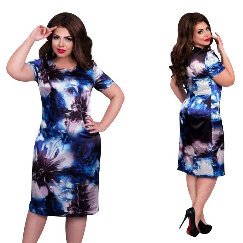 2019 Marque De Mode robe pour femme grande taille 6XL Robes O Cou Impression Fleur Droite décontracté D'été Genou Longueur robe surdimensionnée