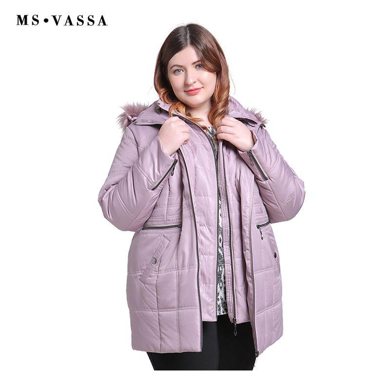 MS VASSA New Parkas 2018 Women winter Autumn Ladies Jackets turn-down collar hood with fake fur plus size 5XL 6XL female