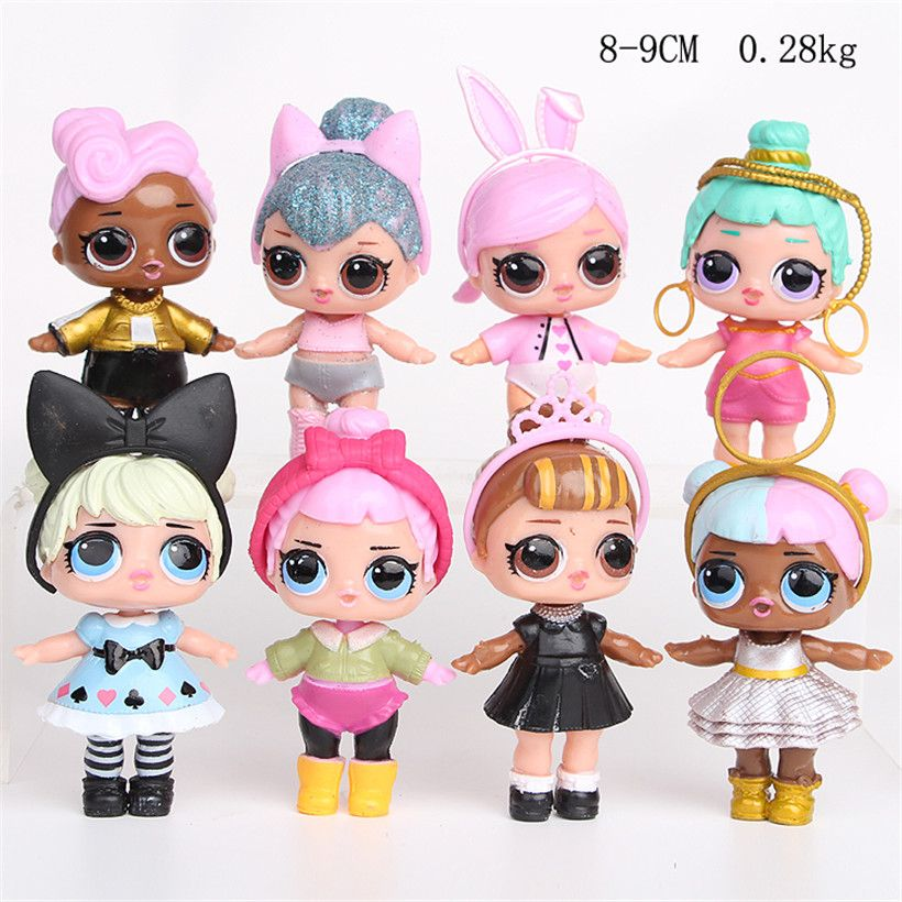 8pcs Lol Surprise Doll Unpacking High-quality Lol Dolls Baby Tear Open Color Change Egg Lol-Doll Action Figure Toys Kids Gift