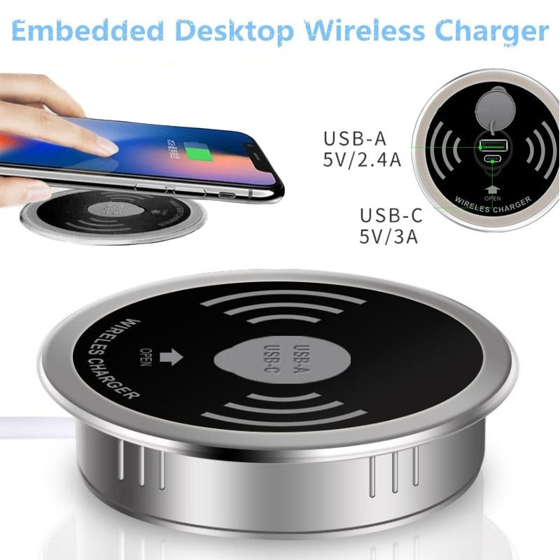 Desktop Wireless Charger 10W 7.5W or 5W USB-A Type-C 15W Quick Charger 3.0 Embedded Qi Caricabatter Tipe C Wireles Fast Charger