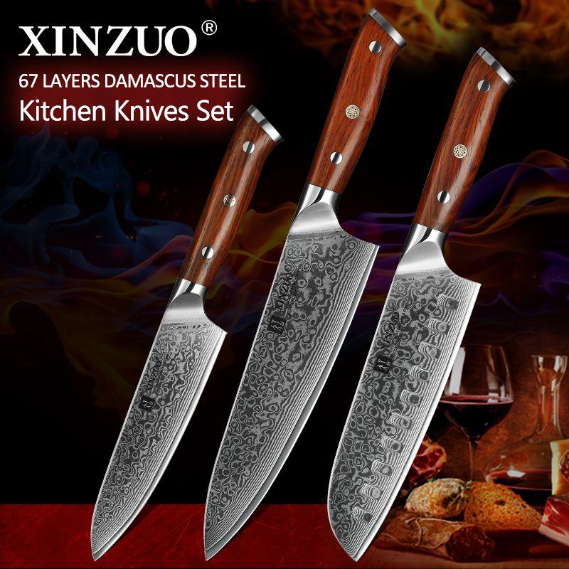 XINZUO 3 pièces Pro Ensembles De Couteaux De Cuisine Japonais forgé couteau de Chef En Acier damas Couteaux Santoku En Acier Inoxydable Manche En Palissandre couteau Chef
