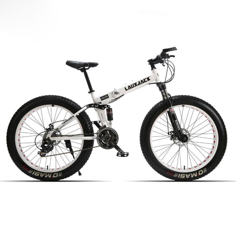 LAUXJACK Fett Bike Full Suspension Stahl Faltbare Rahmen 24 Geschwindigkeit Shimano Mechaniker Bremse 26