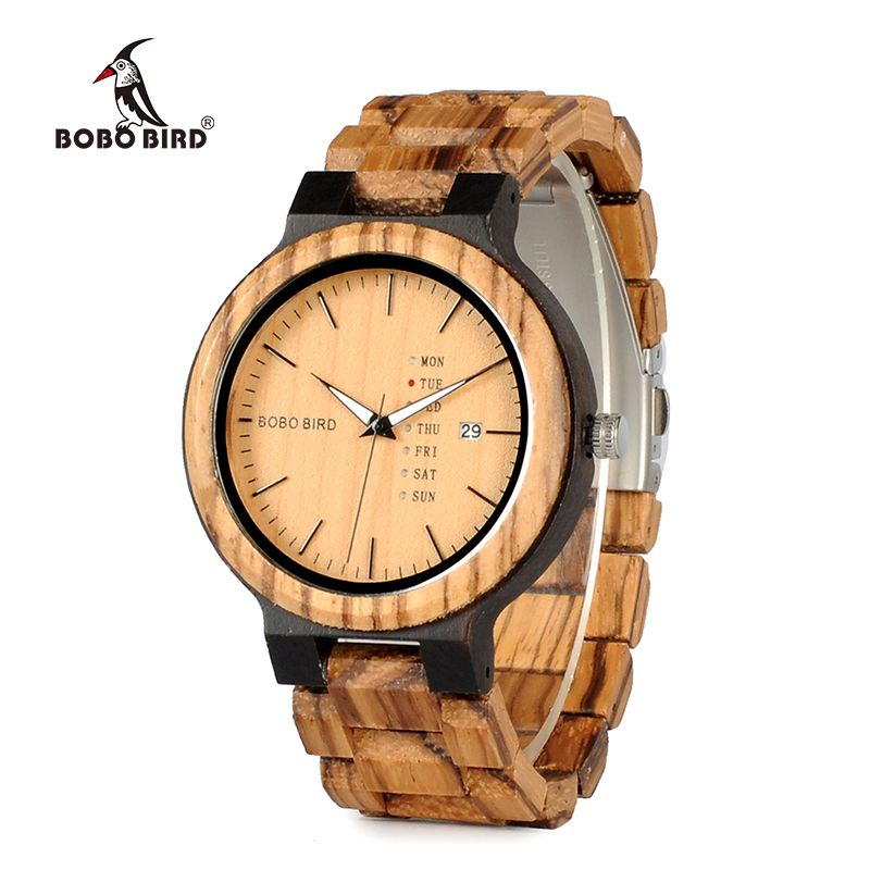 BOBO BIRD Newest Wood Watch for Men with Week Display Date Quartz Watches Two-tone Wooden Drop Shipping